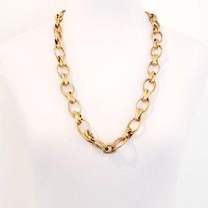 J. Crew Necklace Open Oval Link Brushed Gold